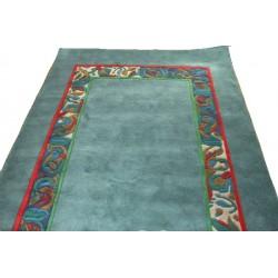Simea - modrý vlněný koberec  s jemným ornamentem