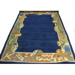 Ganga - modrý vlněný koberec  s jemným ornamentem