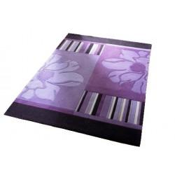 RIEKE -  fialový koberec s pásky a květinami